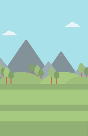 Background of mountain landscape vector flat design illustration. Vertical layout.