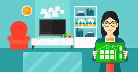 An asian woman holding a tablet computer with smart home application on a screen on the background of modern  living room vector flat design illustration. Horizontal layout.