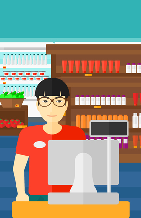checkout: An asian salesman standing at checkout on the background of supermarket shelves with products vector flat design illustration. Vertical layout.