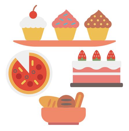 ピザと甘い菓子の品揃えはベクトル白い背景に分離されたフラットなデザイン イラストです。