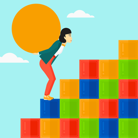 hard: An asian woman rising up on the colored cubes and carrying a big stone on her back on the background of blue sky vector flat design illustration. Square layout. Illustration