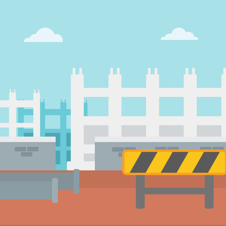 waterway: Background of construction site with pipes and road barriers vector flat design illustration. Square layout.
