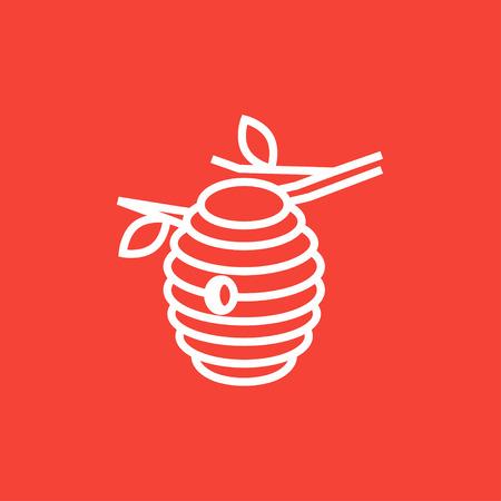 abejas: Abeja icono de l�nea gruesa colmena con esquinas puntiagudas y bordes para web, m�vil y la infograf�a. aislado vector icono.