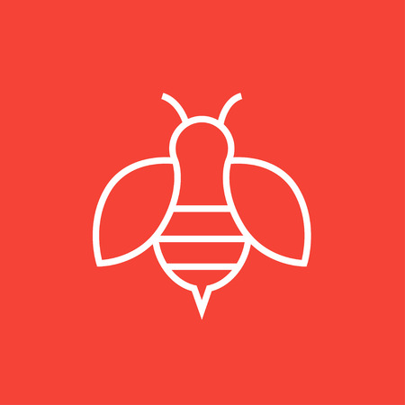 mead: Bee thick line icon with pointed corners and edges for web, mobile and infographics. Vector isolated icon.