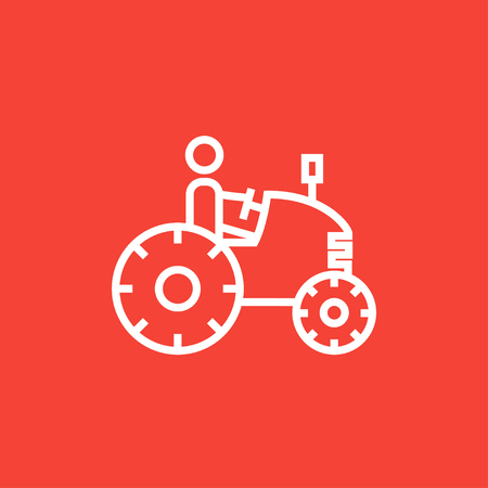 Man driving a tractor thick line icon with pointed corners and edges for web, mobile and infographics. Vector isolated icon. Ilustração