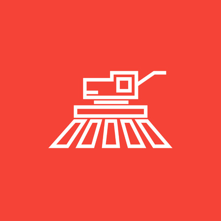 harvester: Combine harvester thick line icon with pointed corners and edges for web, mobile and infographics. Vector isolated icon.