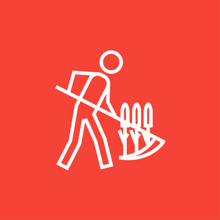 mowing the grass: Man mowing grass with a scythe thick line icon with pointed corners and edges for web, mobile and infographics. Vector isolated icon. Illustration