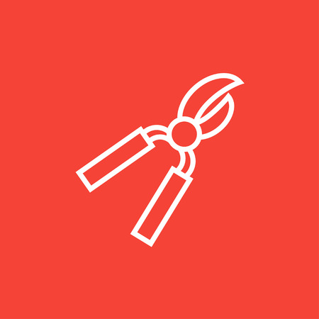 pruning shears: Pruner thick line icon with pointed corners and edges for web, mobile and infographics. Vector isolated icon.