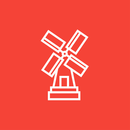 agro: Windmill thick line icon with pointed corners and edges for web, mobile and infographics. Vector isolated icon.