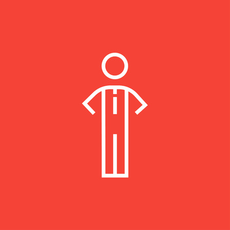 Businessman standing thick line icon with pointed corners and edges for web, mobile and infographics. Vector isolated icon. Çizim