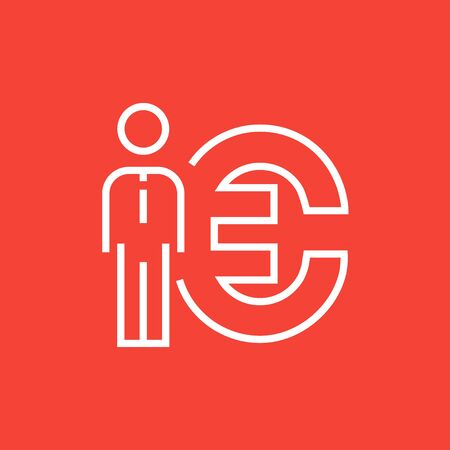 fullbody: Businessman standing beside the Euro symbol thick line icon with pointed corners and edges for web, mobile and infographics. Vector isolated icon. Illustration