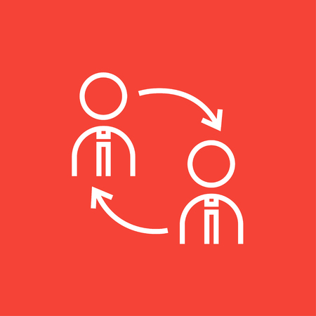 turnover: Staff turnover thick line icon with pointed corners and edges for web, mobile and infographics. Vector isolated icon. Illustration