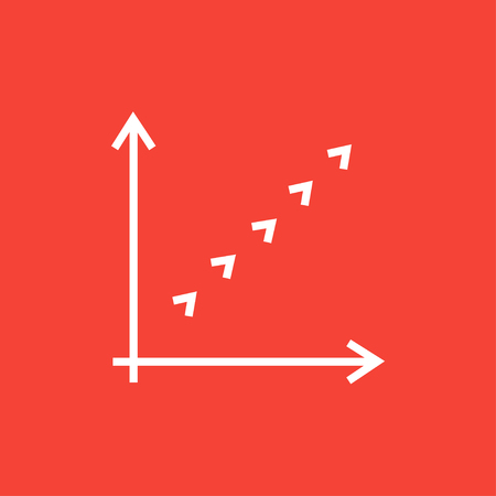 discontinuous: Growth graph thick line icon with pointed corners and edges for web, mobile and infographics. Vector isolated icon.