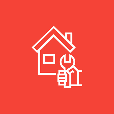 House with wrench thick line icon with pointed corners and edges for web, mobile and infographics. Vector isolated icon.
