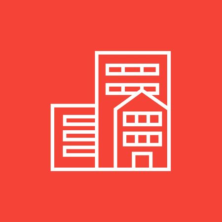 cemented: Residential buildings thick line icon with pointed corners and edges for web, mobile and infographics. Vector isolated icon.