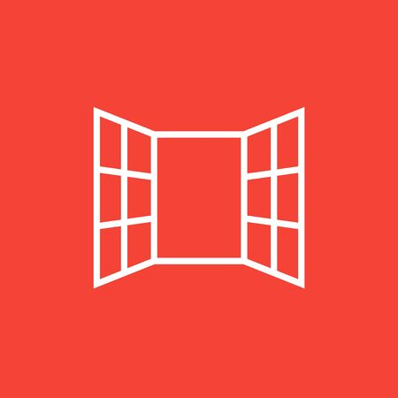 open windows: Open windows thick line icon with pointed corners and edges for web, mobile and infographics. Vector isolated icon.