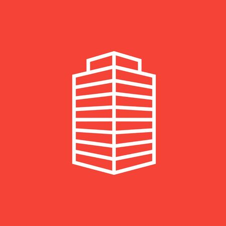 multi storey: Office building thick line icon with pointed corners and edges for web, mobile and infographics. Vector isolated icon.