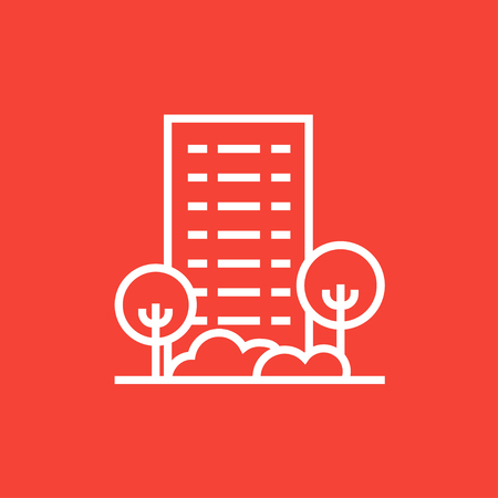 multi storey: Residential building with trees thick line icon with pointed corners and edges for web, mobile and infographics. Vector isolated icon.