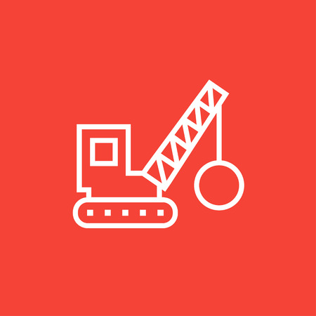 demolition: Demolition trailer thick line icon with pointed corners and edges for web, mobile and infographics. Vector isolated icon.