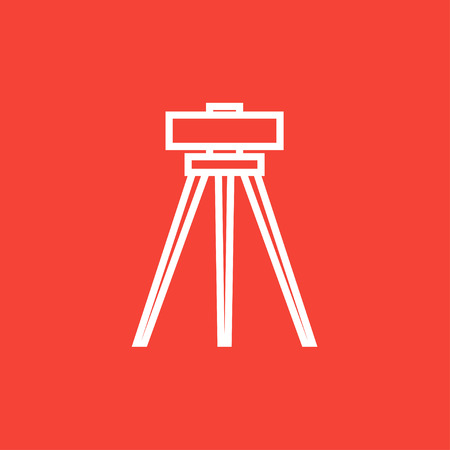 leveler: Theodolite on tripod thick line icon with pointed corners and edges for web, mobile and infographics. Vector isolated icon. Illustration