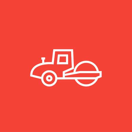 steamroller: Road roller thick line icon with pointed corners and edges for web, mobile and infographics. Vector isolated icon.