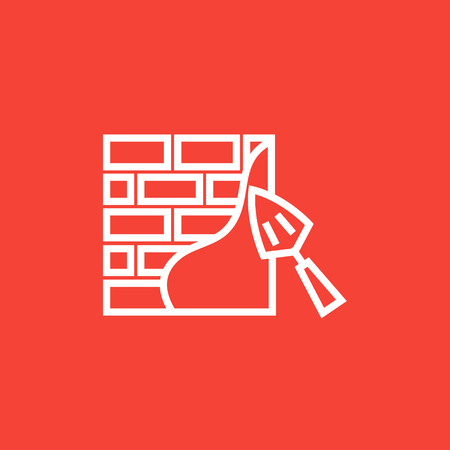 Spatula with brickwall thick line icon with pointed corners and edges for web, mobile and infographics. Vector isolated icon.