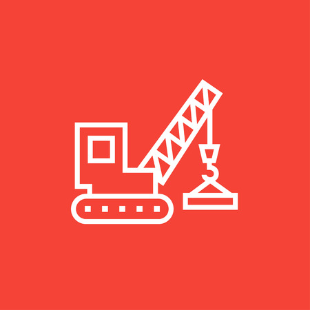 construction machines: Lifting crane thick line icon with pointed corners and edges for web, mobile and infographics. Vector isolated icon. Illustration