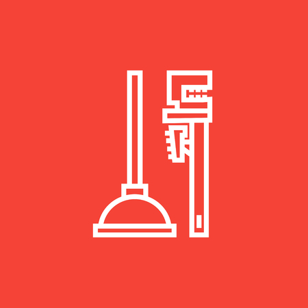 sanitary engineering: Pipe wrenches and plunger thick line icon with pointed corners and edges for web, mobile and infographics. Vector isolated icon. Illustration