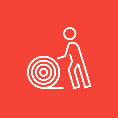 Man with wire spool thick line icon with pointed corners and edges for web, mobile and infographics. Vector isolated icon. Illustration