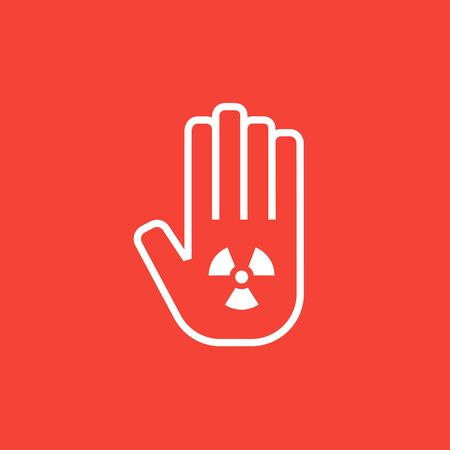 ionizing radiation: Ionizing radiation sign on a palm thick line icon with pointed corners and edges for web, mobile and infographics. Vector isolated icon.