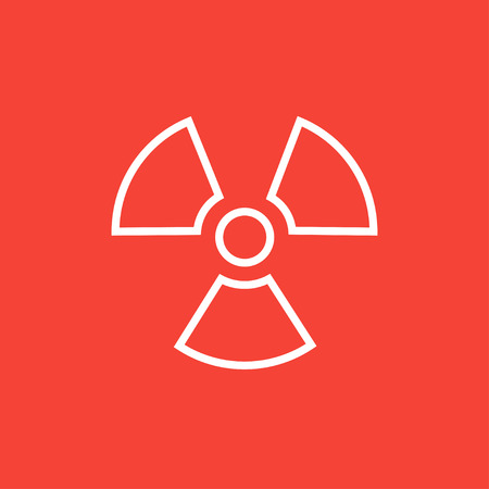 ionizing: Ionizing radiation sign thick line icon with pointed corners and edges for web, mobile and infographics. Vector isolated icon.