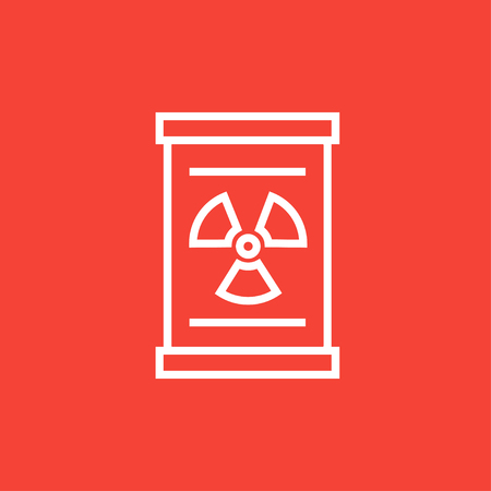 Barrel with ionizing radiation sign thick line icon with pointed corners and edges for web, mobile and infographics. Vector isolated icon.