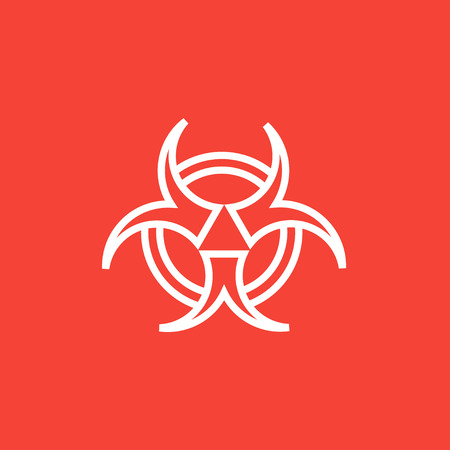 Bio hazard sign thick line icon with pointed corners and edges for web, mobile and infographics. Vector isolated icon.