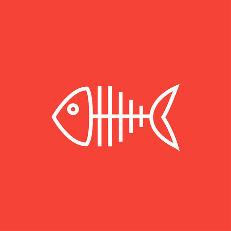 Fish skeleton thick line icon with pointed corners and edges for web, mobile and infographics. Vector isolated icon. Ilustracja