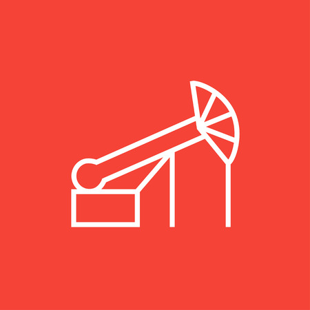 Pump jack oil crane thick line icon with pointed corners and edges for web, mobile and infographics. Vector isolated icon.