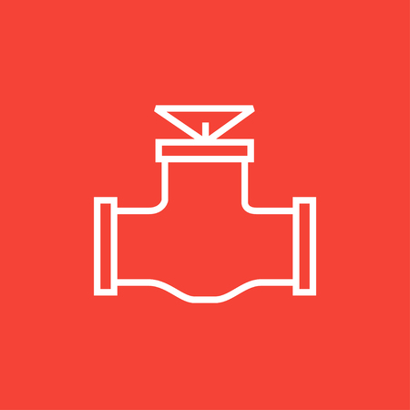 Gas pipe valve thick line icon with pointed corners and edges for web, mobile and infographics. Vector isolated icon.