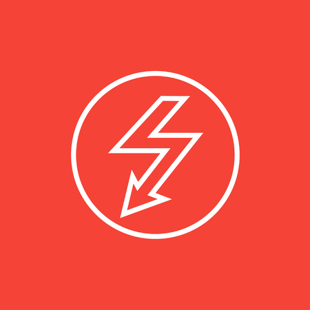 lightning arrow: Lightning arrow going down inside circle thick line icon with pointed corners and edges for web, mobile and infographics. Vector isolated icon.
