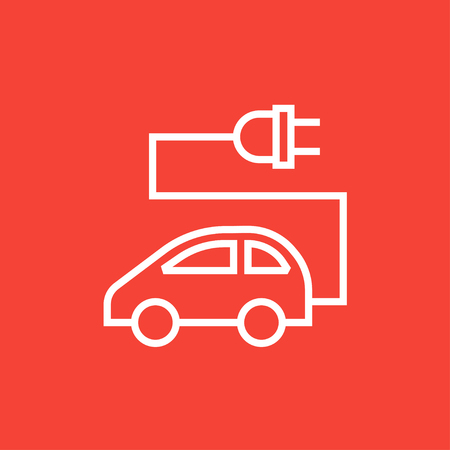 Electric car thick line icon with pointed corners and edges for web, mobile and infographics. Vector isolated icon.