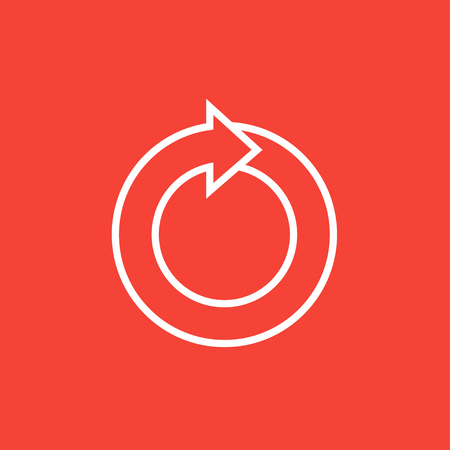 Circular arrow thick line icon with pointed corners and edges for web, mobile and infographics. Vector isolated icon.