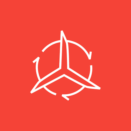pointed arrows: Windmill with arrows thick line icon with pointed corners and edges for web, mobile and infographics. Vector isolated icon. Illustration