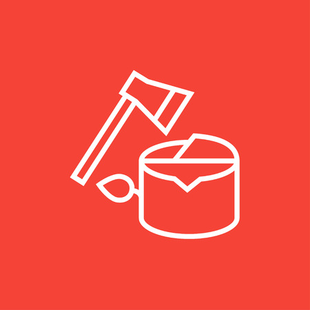 logging: Deforestation thick line icon with pointed corners and edges for web, mobile and infographics. Vector isolated icon.
