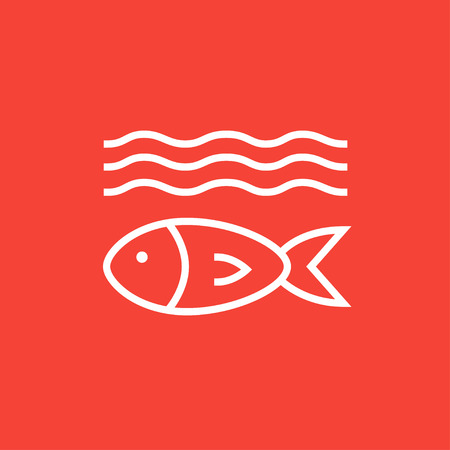 ecological damage: Fish under water thick line icon with pointed corners and edges for web, mobile and infographics. Vector isolated icon.