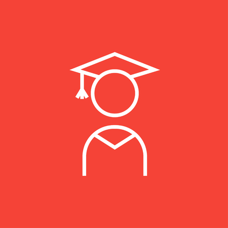 Graduate thick line icon with pointed corners and edges for web, mobile and infographics. Vector isolated icon.
