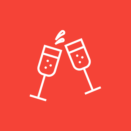 Two glasses of champaign thick line icon with pointed corners and edges for web, mobile and infographics. Vector isolated icon.