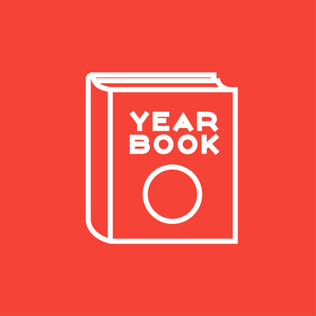yearbook: Yearbook thick line icon with pointed corners and edges for web, mobile and infographics. Vector isolated icon.