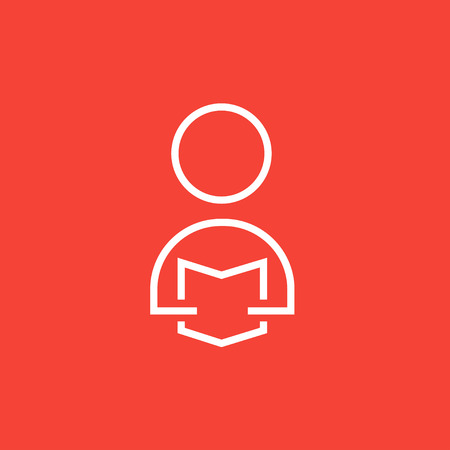 man reading: Man reading a book thick line icon with pointed corners and edges for web, mobile and infographics. Vector isolated icon.