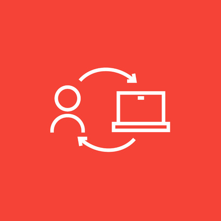 pointed arrows: Arrows linking man and laptop thick line icon with pointed corners and edges for web, mobile and infographics. Vector isolated icon.
