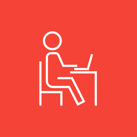 teacher and student: Student sitting on a chair in front of the laptop thick line icon with pointed corners and edges for web, mobile and infographics. Vector isolated icon.