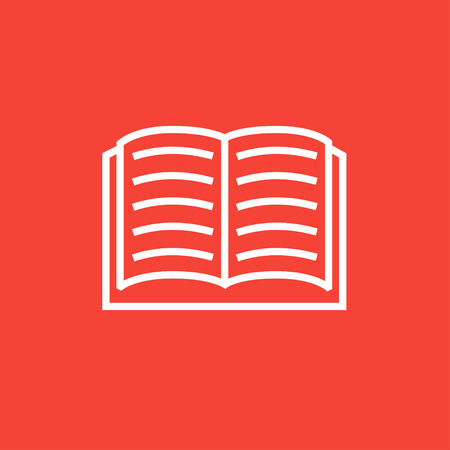 schoolbook: Open book thick line icon with pointed corners and edges for web, mobile and infographics. Vector isolated icon. Illustration