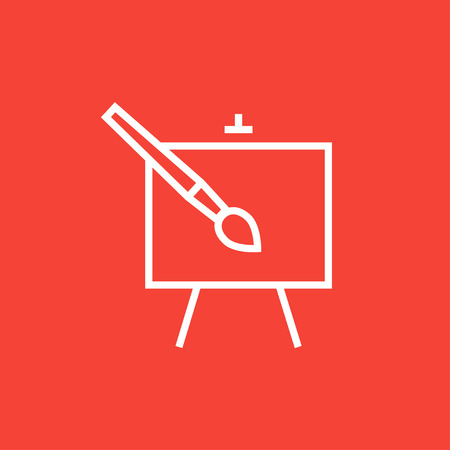 Easel and paint brush thick line icon with pointed corners and edges for web, mobile and infographics. Vector isolated icon.